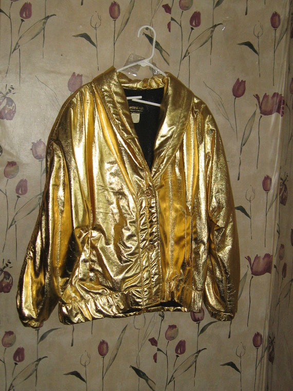 Vintage 80s GOLD Metallic liquid gold   jacket by Pacific I D resort collection  made in USA