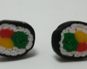 Sushi Roll Polymer Clay Post Earrings Hypoallergenic