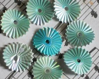 N1254D Vintage Sequins Beads Connectors Findings Blue shabby Spiral Shimmer Embellish