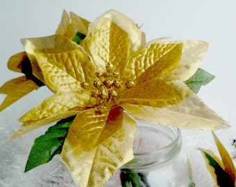 Gold Poinsettia Flower Pen Set Christmas Wedding Favors Reception Guest Book Pens Party Favors Bridal Shower
