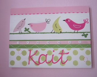Penelope Bird Wall Art for Girls Nursery Kids Room 12x16 Pink Green Polka Dots Personalized