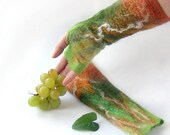 Felted  Mittens  fingerless gloves-  Green ginger gift under 50