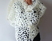 Lace scarf  Felted scarf net lace White wedding Felt Scarf White wedding lace stole by Galafilc