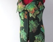 Felted vest warm  women wool  vest  Maple Leaves green tunic felt vest autumn winter vest by Galafilc