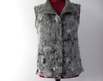 Felted vest  seamless grey vest women wool vest felted tunic rustic warm vest wool grey tunic raw wool