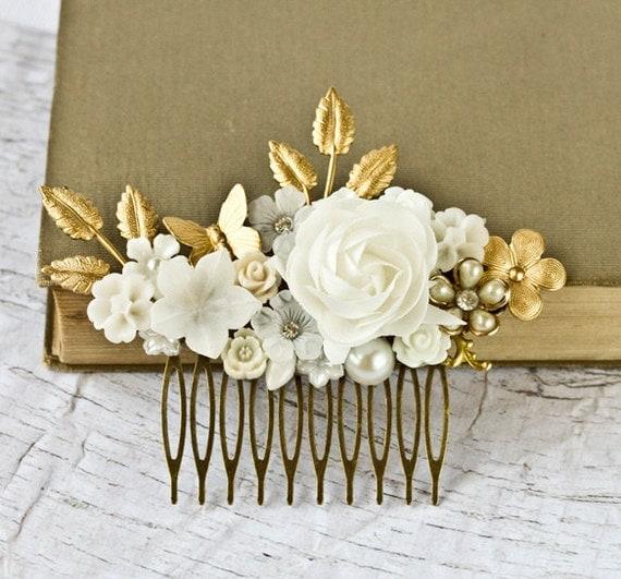 White Gold Bridal Hair Comb Bridal Hair Accessory, Wedding Head Piece, Elegant Shabby Chic Hair Comb, Something Old Vintage Autumn
