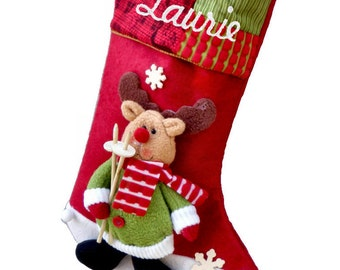 Personalized Childern's  3D Reindeer Christmas Stockings