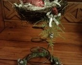 Red Bird - Rusty Bed Spring & Horse Shoe, Bird Nest Christmas Decoration
