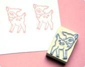 Christmas special hand carved rubber stamp woodland deer