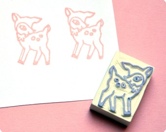 Christmas special hand carved rubber stamp woodland deer