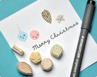 Xmas balls hand carved rubber stamps, set of 5