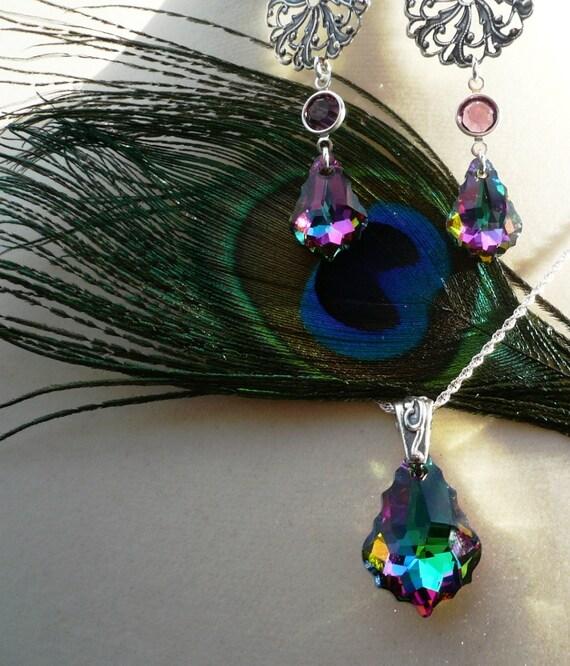 Peacock Wedding Ideas Etsy: Peacock Theme Wedding Jewelry Set By Pauhana On Etsy