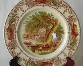 Rural Scenes Vintage English Brown Transferware Plate Mother Child Dog Woodcutter with Rare Border