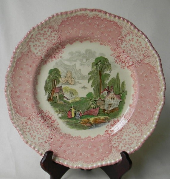 Rare Vintage English Polychrome Red Transferware Scenic Plate Royal Doulton Chatham