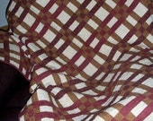 Woven Ribbons Tan and Red Wall Lap Quilt
