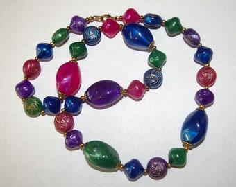 Multi Color Beaded Necklace, Festive Colors, Multi Shapes, Vintage 1980's