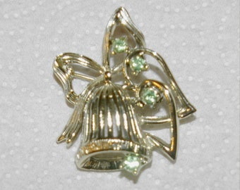 Christmas Bell Brooch, Signed DODDS, Silver Tone, Green Rhinestones, Vintage 1970's