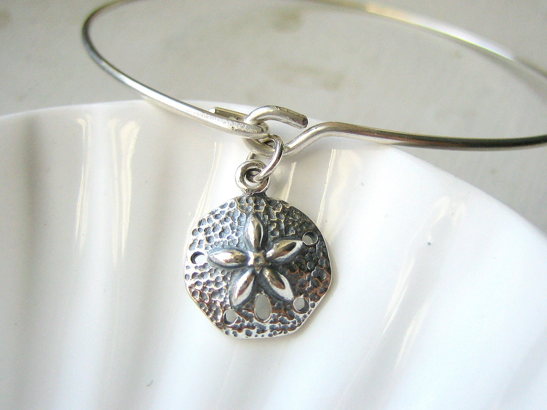 Sand Dollar Bangle Bracelet Sterling Silver by AkulaHopeDesigns