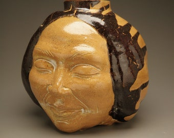Face Vase Sculpture Vessel, Autumn Splash with Sideways Drips, Buddha Head Wabi Sabi Ikebana Sphere Pot