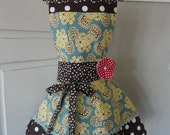 "4RetroSisters Annabelle Full Womens Apron ""Pretty Blue"" Floral Apron"