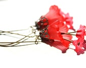 Lucite flower earrings in red