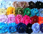 Set of 12 Pre-Trimmed Shabby Flowers- Chiffon Fabric Flowers -Your Choice of Colors