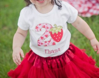 Girls Strawberry Birthday Shirt - Strawberry Birthday Outfit - Strawberry First Birthday Shirt - Strawberry Birthday Party Shirt
