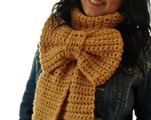 Big Bow Scarf - Crocheted Oversized Bow Scarf Winter Pick Your Color