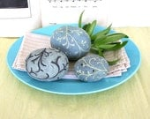 Decorative ceramic spheres with a tree branch motif. Blue, blue green, carved, hand painted, spring, Easter, center piece, gift. 43