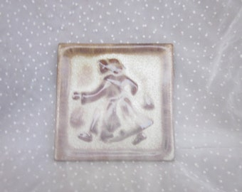 Ceramic Tile With Woman on It Rustic Brown Drip Glaze Type Made in Japan