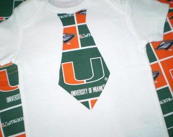 Miami Hurricanes 4 pc Burp Cloth and Onesie or Tee