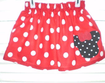 Red with Black Polka Dot Minnie Mouse Twirl Skirt