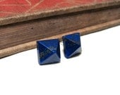 Lapis Lazuli Pyramid Post Earrings - Stud - Dark Blue - Pyrite - Fool's Gold - Cobalt - Genuine - Silver Plated - Square - Gemstone 8mm