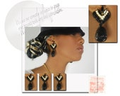 vintage women's hand beaded couture black gold glam earrings