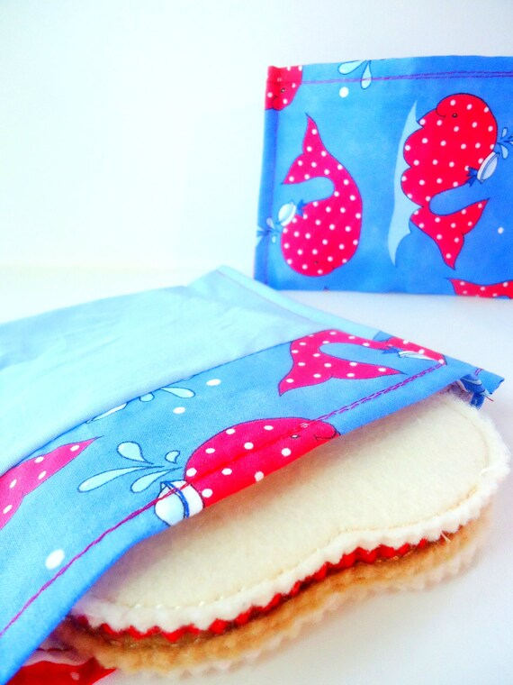 Reusable Eco-Friendly Sandwich and Snack Bag Set - Whales with Sailor Hats -