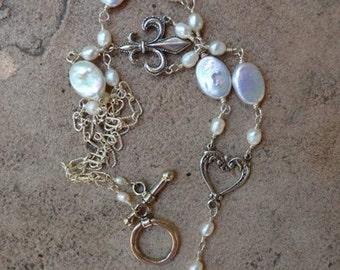 Silver Freshwater Pearl Fleur de Lis Necklace