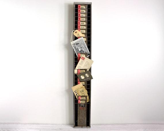 Vintage Industrial Time Card Rack / Metal Card Holder