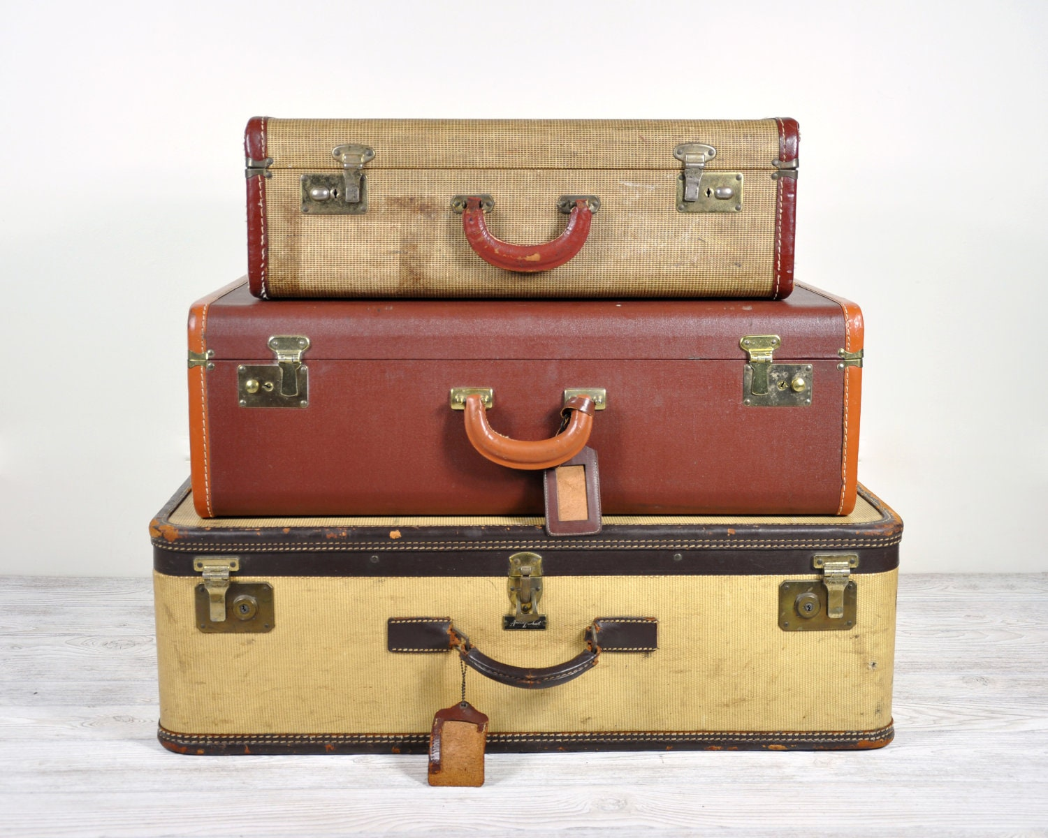 Vintage 1940 39 s luggage set vintage leather suitcases - Vintage suitcase ...