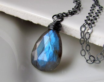 Labradorite Pendant, Natural Blue Fire Stone Pendant, Oxidized Sterling Silver Wire Wrapped