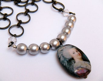 Marie Antoinette Necklace, Silver and Gunmetal Necklace, Decoupage Necklace, French Revolution - Let Them Eat Cake