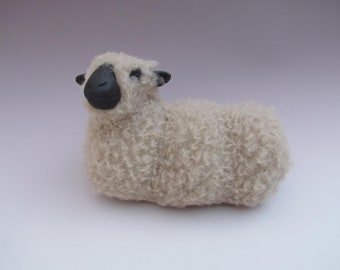 Handmade Porcelain Sheep Figurines, English Shropshire Sheep Lying