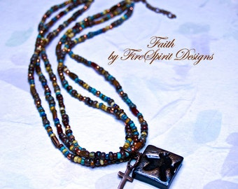 Faith- handmade neckace- ooak necklace- beaded necklace- tribal necklace- cross necklace- rustic necklace- pendant necklace- gift for her