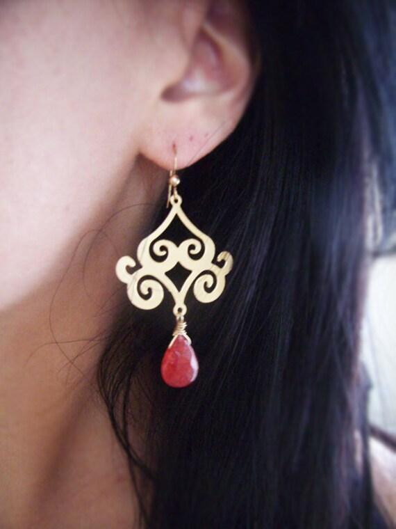 Red Drop Scroll Chandelier Earrings- Gold Dangle Earrings- Gold Swirl Earrings- Scarlet Red Jade Faceted Earrings- Bridesmaids Earrings