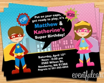 Kids Superhero and Supergirl Joint Birthday Party Invitation - Digital - Printable