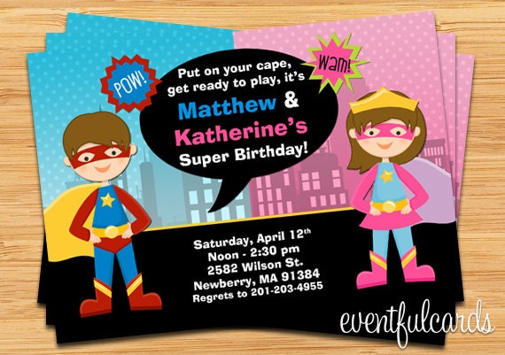 kids superhero and supergirl joint birthday party invitation, Party invitations