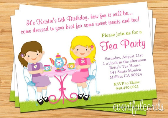 Tea birthday party invitation for kids description invite family and friends to your childs next birthday party filmwisefo Image collections