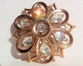 Trifari Brooch, Timeless and Elegant Signed Goldplated Dome Brooch with Rhinestones