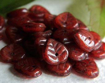 Red Leaf Beads, Czech glass heart leaf beads, Red & Classic Picasso 9mm (25pcs)