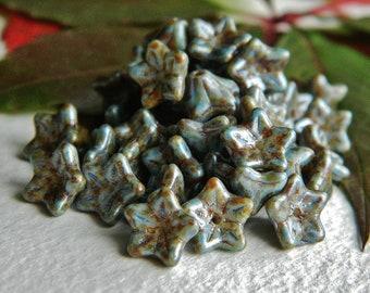 FLOWER Czech beads Glass 5-petal Trumpet Flower Small 6X9mm Light Metallic Blue , Grey & Brown  Picasso  (12pcs) NEW