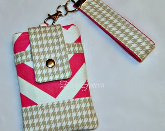 Hot Pink Chevron & Tan / Taupe Houndstooth Phone Case with Wristlet OR Navy Blue - Black - Brown Chevron / Dots